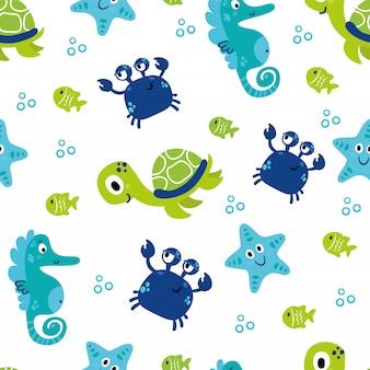 海の動物と漫画のシームレスパターン