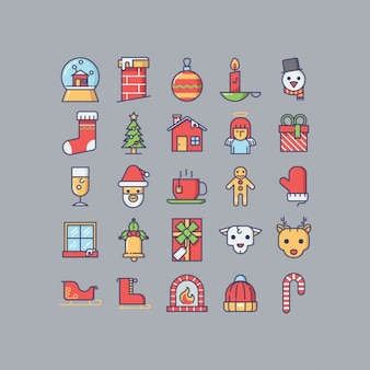 薄いクリスマスのアイコン集