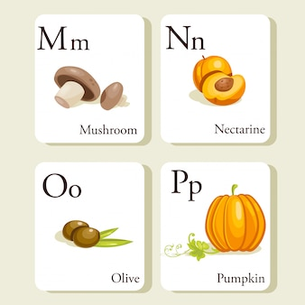 果物と野菜のアルファベットカード