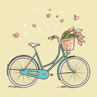 花とビンテージ自転車