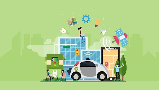 環境に優しいハイブリッド電気自動車の小さな人々のキャラクターを運転する自律自己