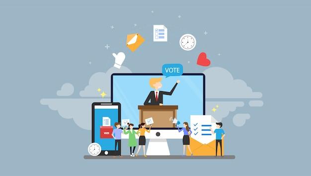 Онлайн голосование крошечные люди характер концепция векторные иллюстрации