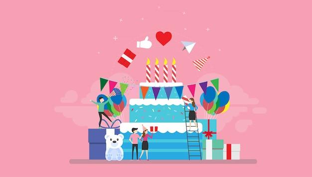 誕生日パーティーのお祝いの小さな人キャライラスト