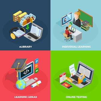 Набор иконок концепции электронного обучения