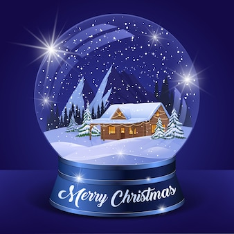 Рождественский зимний пейзаж глобус