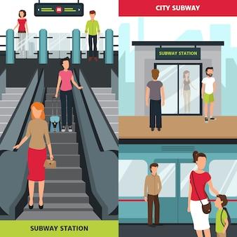 地下鉄の人々垂直バナー