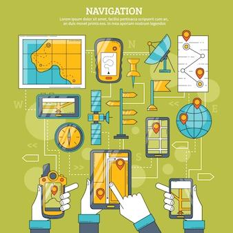 Навигация векторная иллюстрация