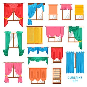 窓のカーテンとブラインドセット