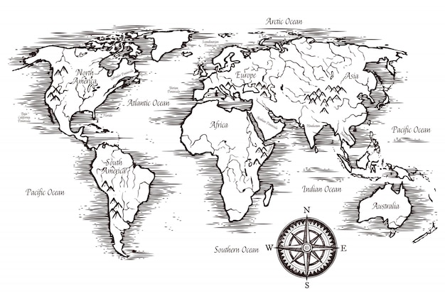 スケッチ世界地図テンプレート