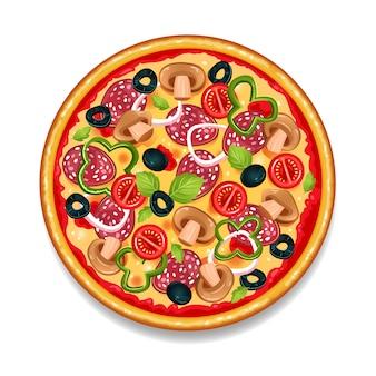 カラフルな丸いおいしいピザ