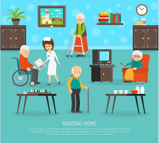 老人ホーム介護施設フラットポスター