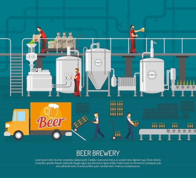 ビール醸造所とビールのイラスト