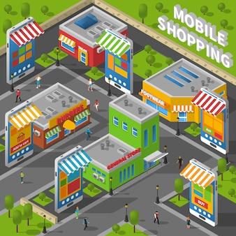 Мобильный шоппинг изометрические