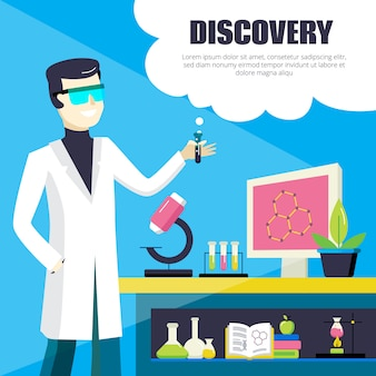 科学者および実験室の発見の図