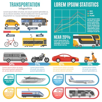 Индивидуальная и общественная транспортная инфографика