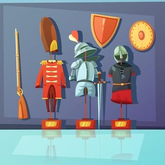 博物館の展示を描いたカラー漫画イラスト