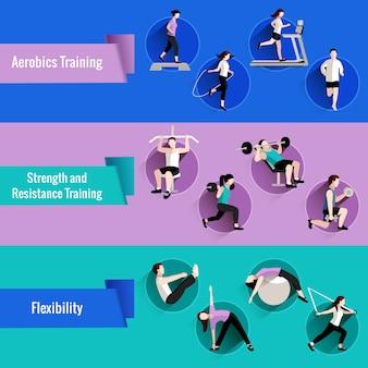 男性と女性のフラットバナーセットのためのフィットネスエアロビクス強度とレジスタンストレーニング