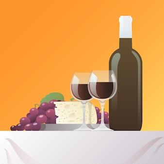 ワインとチーズのある静物