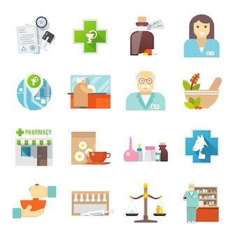 Набор иконок аптекарь плоский