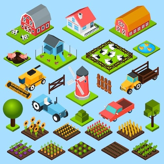Ферма изометрические иконки