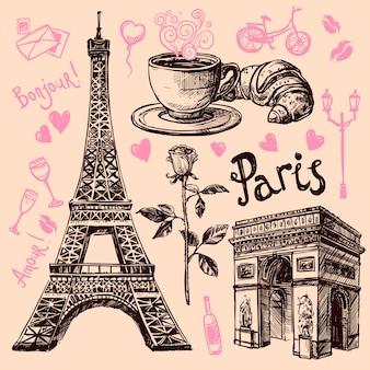 Париж набор рисованной символов