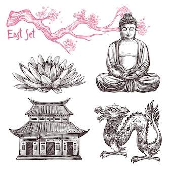 Набор азиатских эскизов