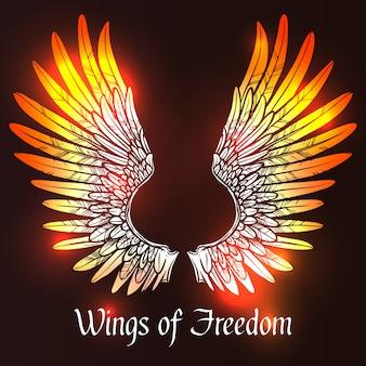 Крылья эскиз иллюстрация