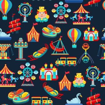 子供用アトラクションと遊園地のシームレスパターン
