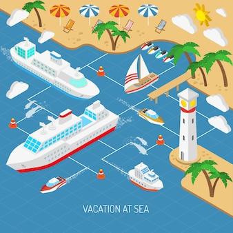 海の休暇と船のコンセプト