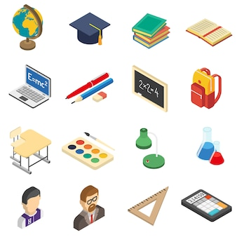 Набор школьных изометрических иконок