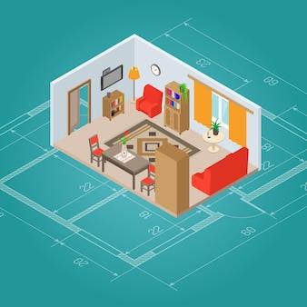Изометрические интерьер гостиной