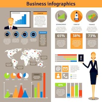 ビジネスインフォグラフィックフラットバナーポスター