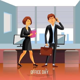 Офис люди плакат