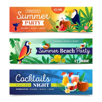 熱帯のビーチパーティーのバナーセット