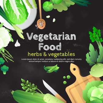 ベジタリアン料理黒板広告ポスター