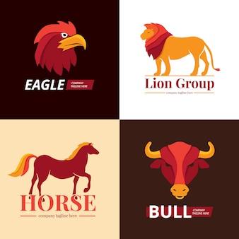 ライオン、ワシ、馬、雄牛のロゴセット