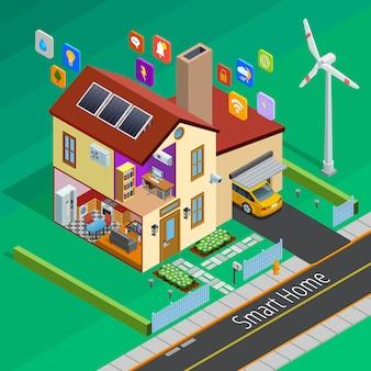 Интернет вещей дома изометрические плакат