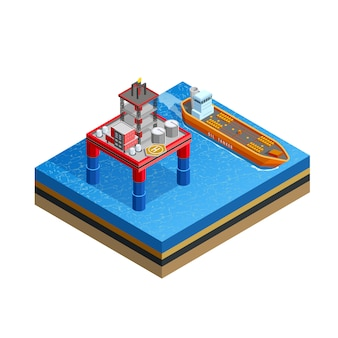 Изометрическое изображение морской нефтедобывающей платформы