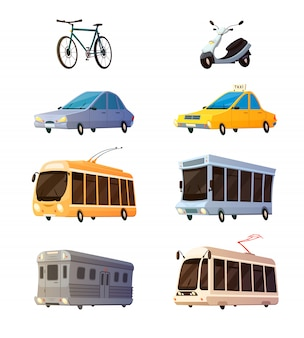 市内交通機関レトロな漫画のアイコンを設定