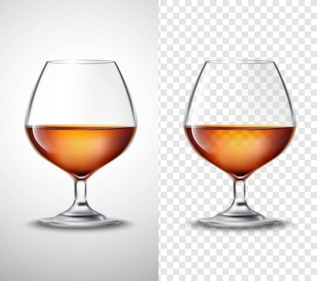 アルコール透明のバナーとワイングラス