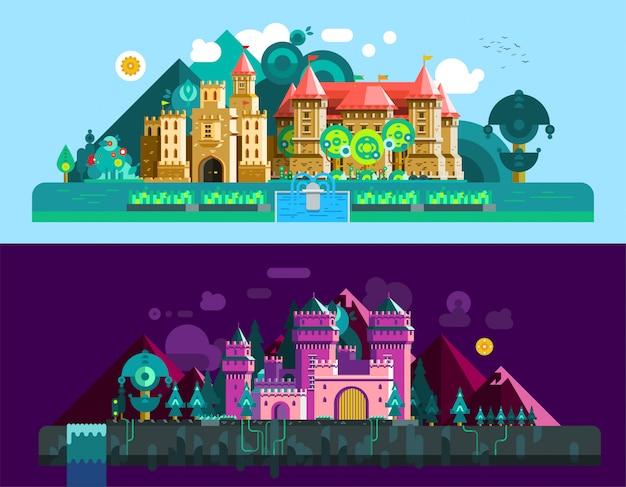 城の水平方向のバナー