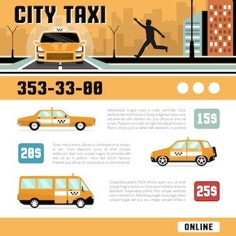 Шаблон веб-страницы служб городского такси