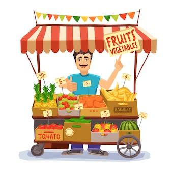 Уличный продавец иллюстрация