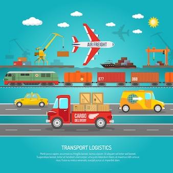 物流交通機関の詳細フラットポスター印刷