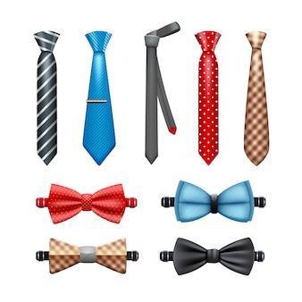 ネクタイと蝶ネクタイのリアルなセット