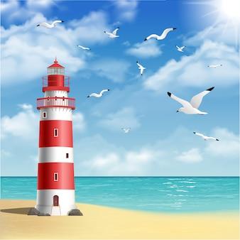 ビーチの灯台