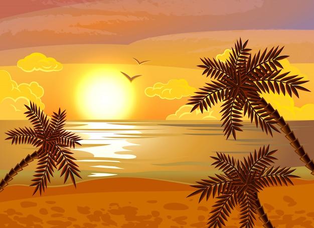 熱帯のビーチの夕日のポスター