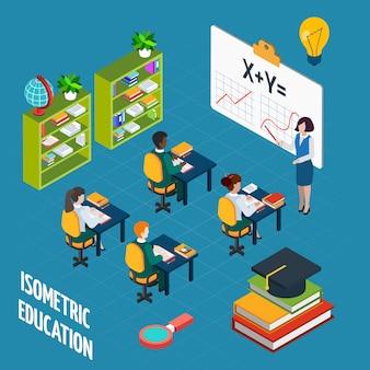 Школьное образование изометрические концепция