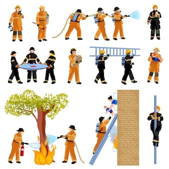 消防士の人々消火