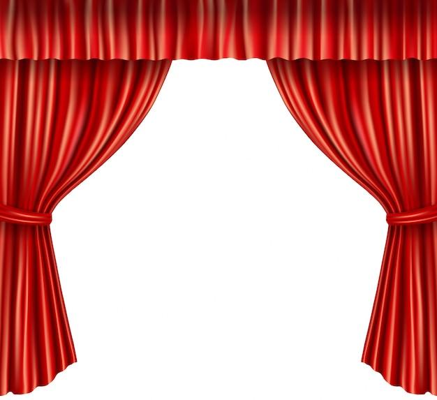 現実的な赤いカーテンの背景